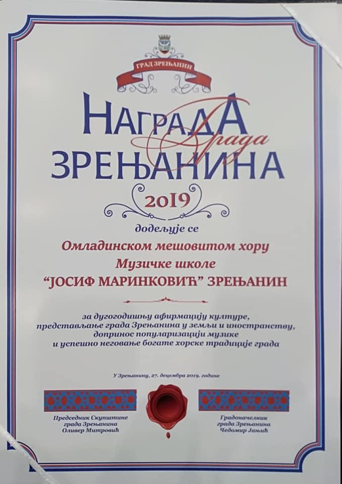 Nagrada grada Zrenjanina 2019 1 2