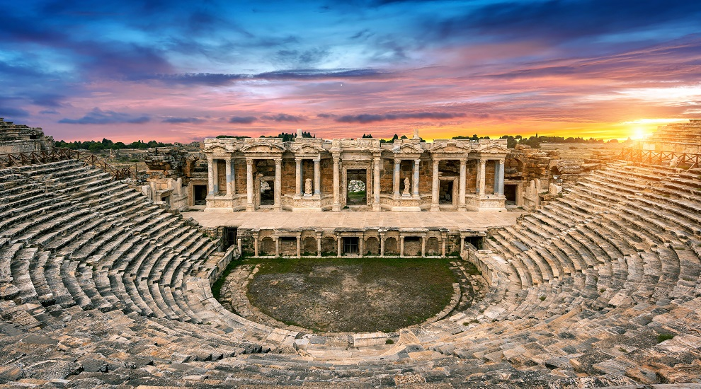 SMANJENO amphitheater ancient city hierapolis sunset pamukkale turkey